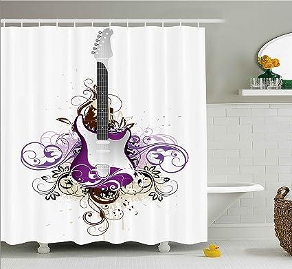 Amazon Com Ambesonne Music Decor Shower Curtain Bass Guitar