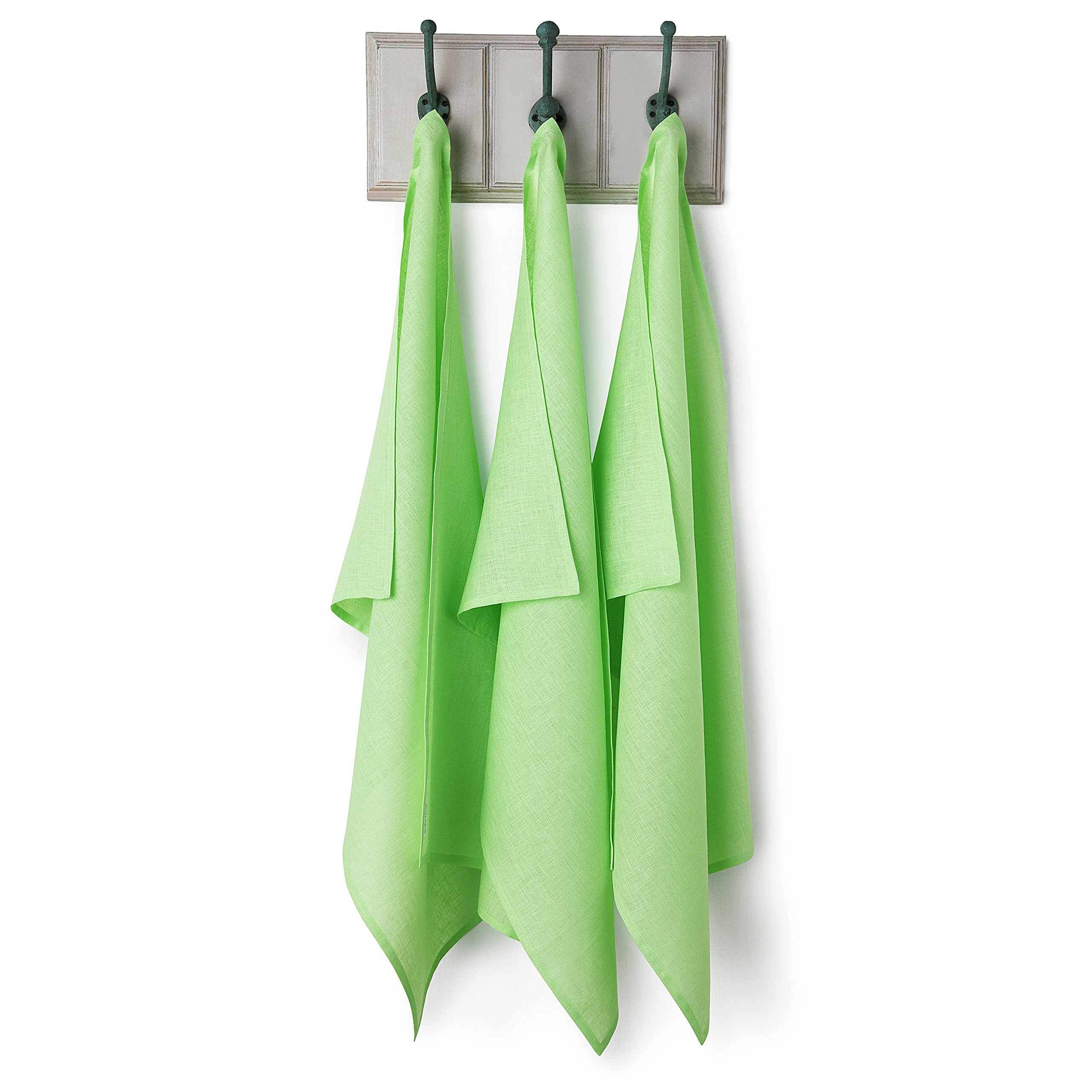 Solino Home Linen Kitchen Towels - 3 Pack 20 x 30 Inch Pure Linen Dish Towel - 100% European Flax Towel with Loop for Hanging - Lime
