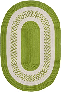 product image for Colonial Mills Hampton Fade-resistant Indoor/Outdoor Braided Rug (2' x 3') Bright Green White, Off-White