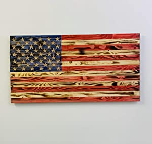 Handmade Rustic Wooden American Flag, US Flag Made of Natural Wood in The USA, Indoor/Outdoor Hand-Torched Patriotic Wall Art 19.5 X 37 X 1.5 Inch, Rustic Wall Décor Ideal for Office & Home Decoration
