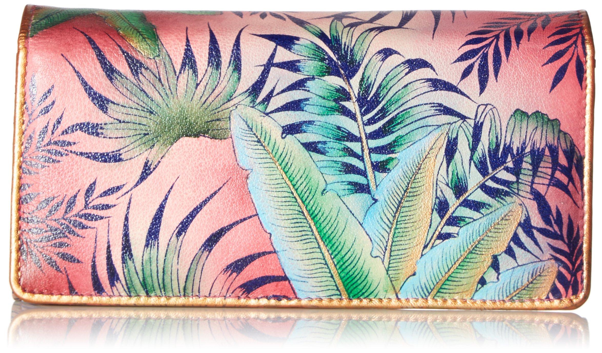 Anuschka Hand Painted Rfid Blocking Accordion Flap Wallet Tropical ISLAND Wallet, Tri-Tropical Island, One Size