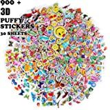 Oiuros Kid Puffy Stickers (900 +), Kids Scrapbooking, 30 Different Sheets, Including Cute Fish and Animals,Butterflies, Cars, Airplane, Letters, Numbers and more