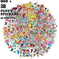 Kid Puffy Stickers (750 +) Kids Scrapbooking 30 Different Sheets Including Cute Fish and AnimalsButterflies Cars Airplane Letters Numbers and more