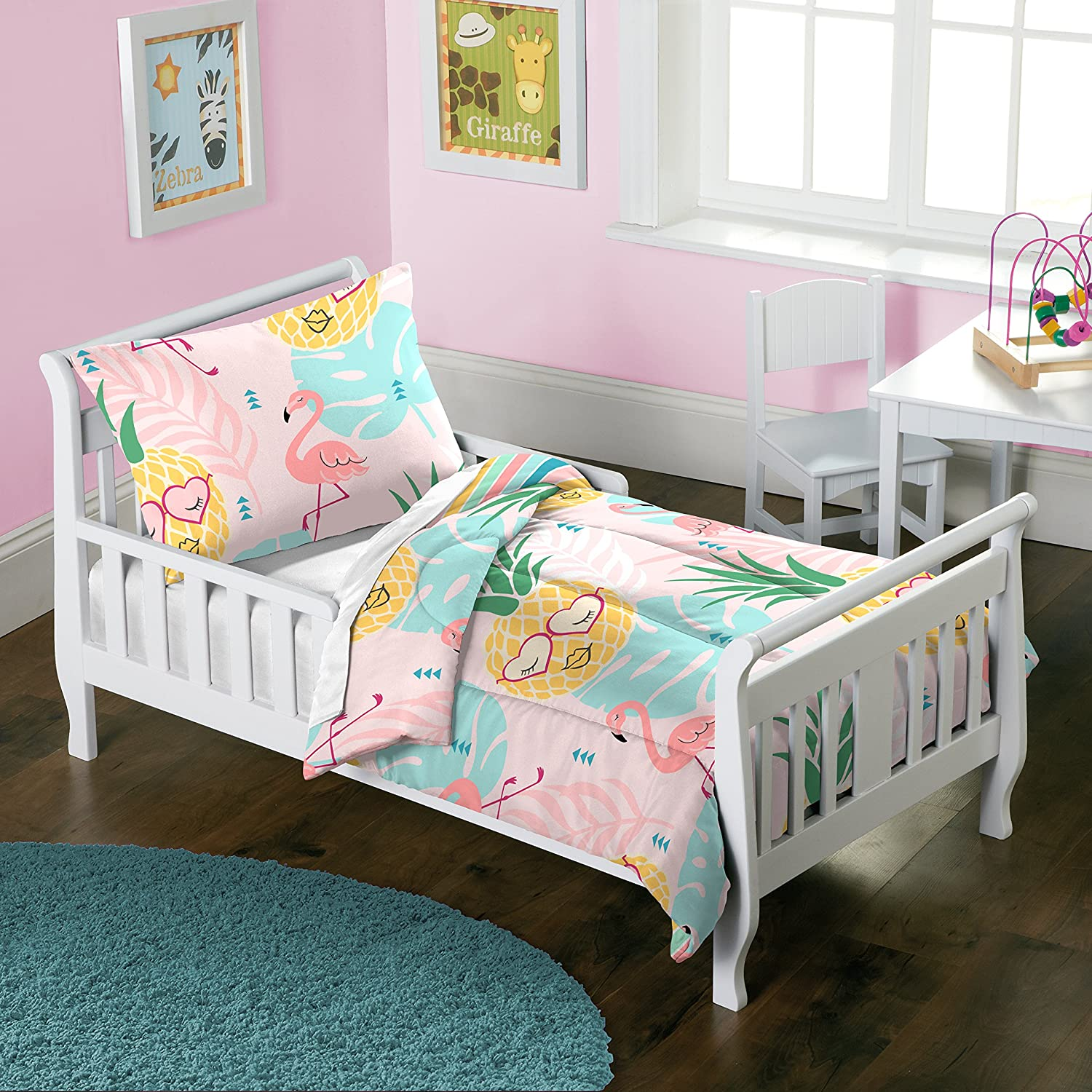 dream FACTORY Pineapple Toddler Comforter Set, Pink