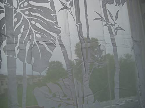 Hawaiian tropical Floral Window treatment curtain drape One sheer Panel 56 x 84 Ivory white