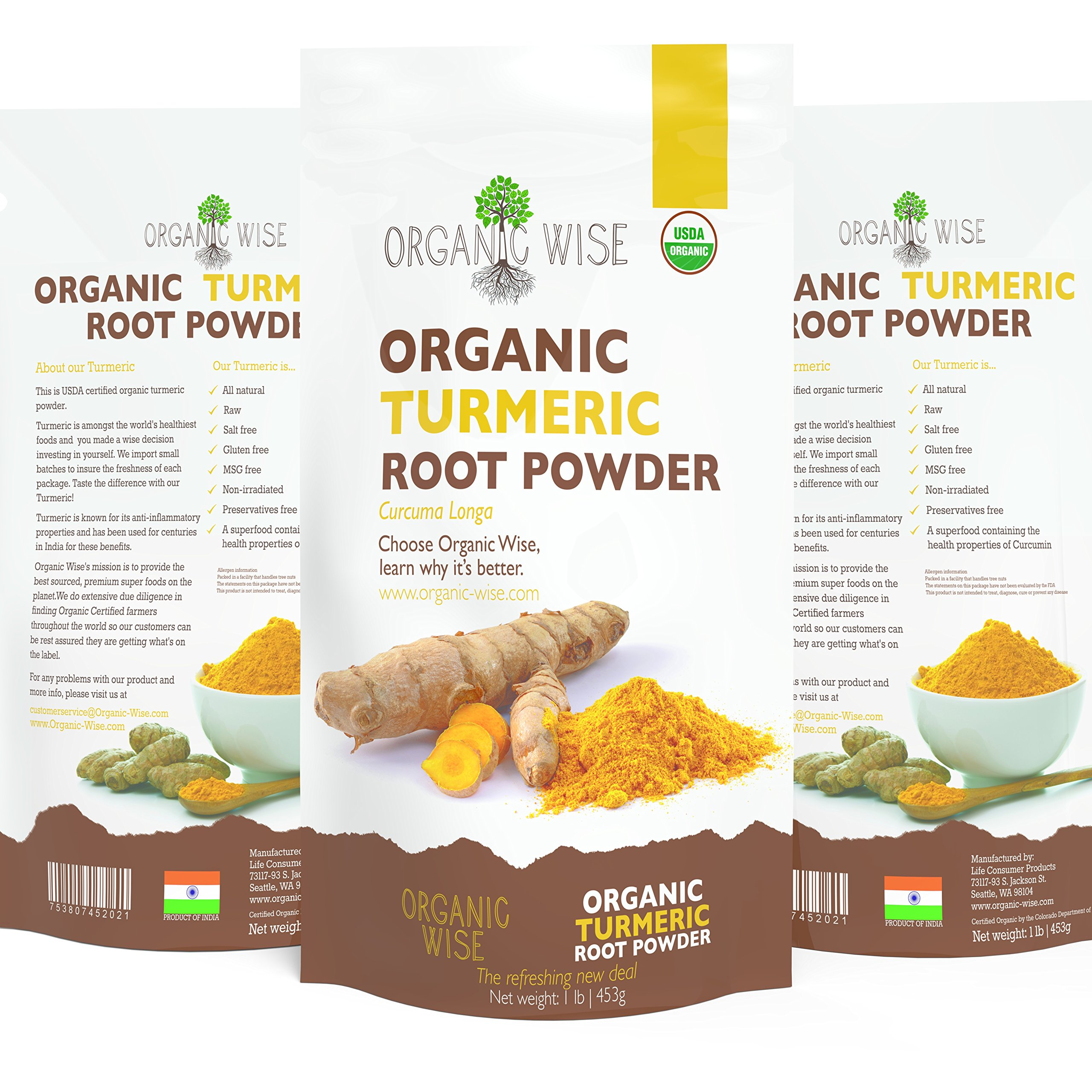 1 lb Organic Turmeric Root Powder by Organic Wise, Minimum 6.75% Curcumin Content.Tested For Heavy Metals and Packed in the USA, From India-Resealable Pouch