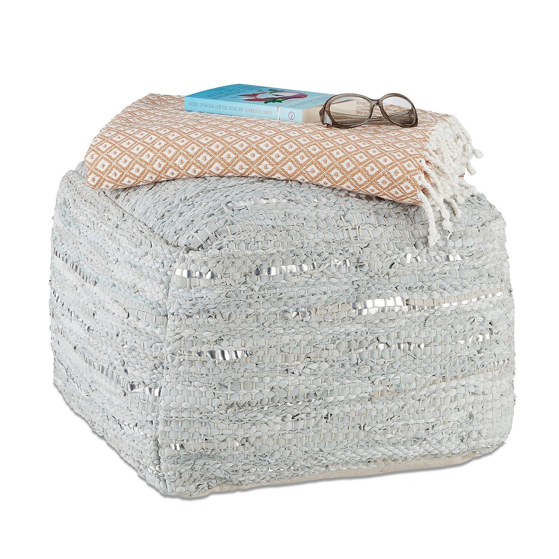 Relaxdays Pouf carré en cuir gris vintage tabouret rembourré repose-pieds cube carré look métallique HxD 38 x 55 cm