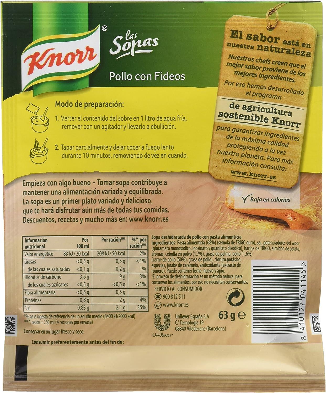 Knorr - Sopa Pollo Fideos 63 g: Amazon.es: Alimentación y bebidas