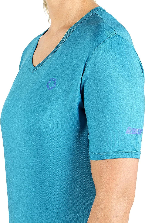 Gregster Camiseta Deportiva y Funcional de Mujer Ciclismo y Correr Camiseta de Manga Corta en Cuello V Ideal para Fitness