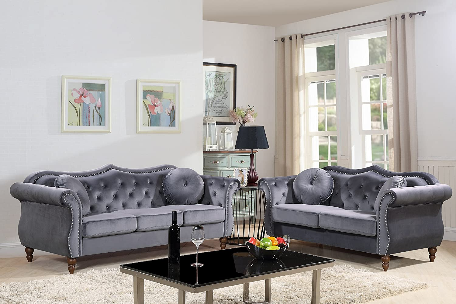 "Container Furniture Direct Carbon Velvet Upholstered Classic Chesterfield  Sofa Set, 4.4"" Sofa and Loveseat, Grey"