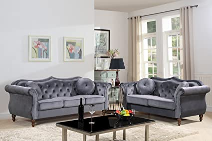 Container Furniture Direct S5366 2PC Carbon Velvet Upholstered Classic  Chesterfield Sofa Set, 79.5u0026quot;