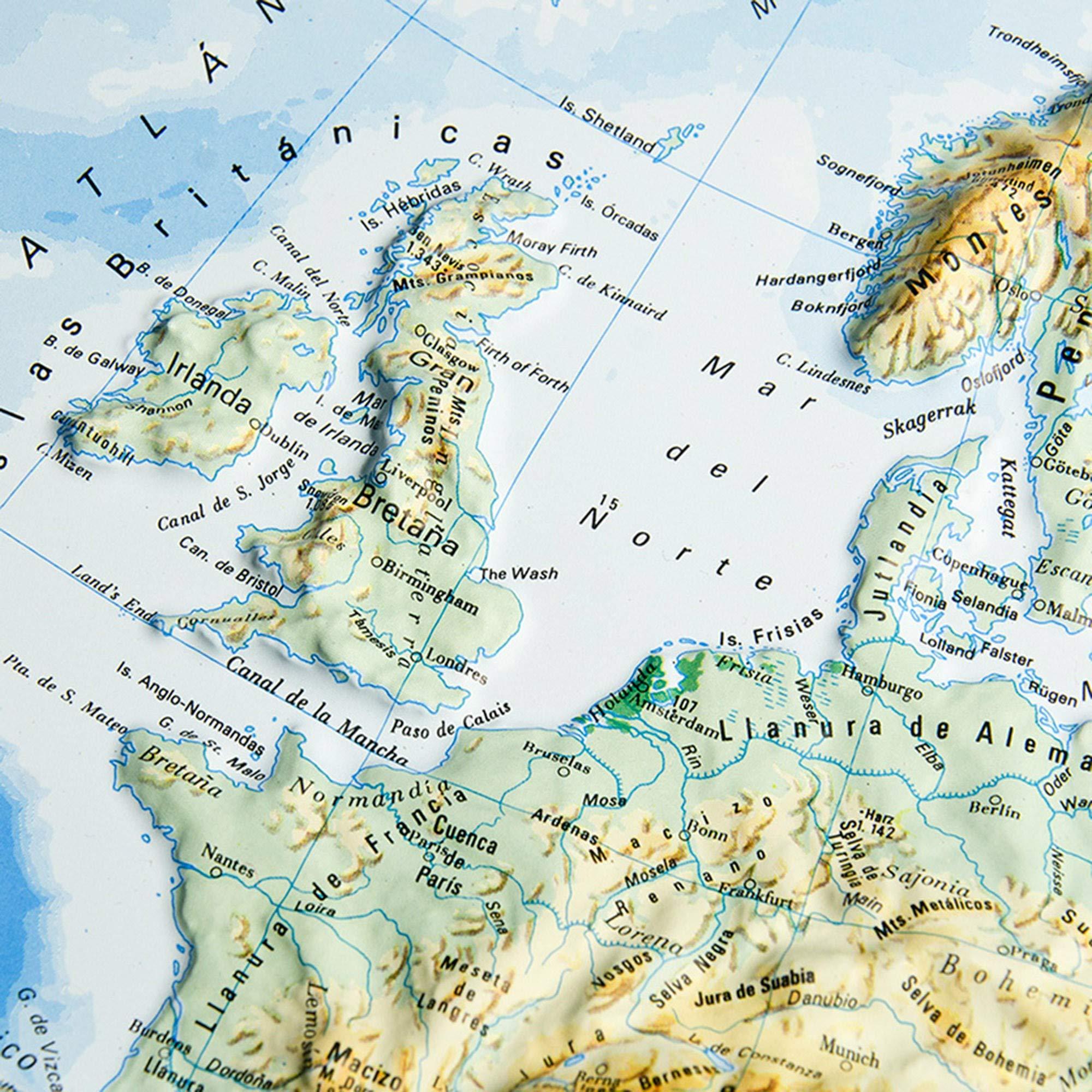 Mapa en relieve de Europa físico: Escala 1:19.000.000: Amazon.es: All 3D Form, S.L.: Libros