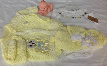 Yellow Crochet New Born Baby Set Baby Bear Three piece includes a hat