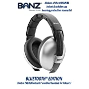 Baby Banz Bluetooth Earmuffs Hearing Protection – Ages 0-2 Years – The Best Earmuffs for Babies & Toddlers – Block Noise & Play Soothing Sounds, Music & Movies (Silver - Bluetooth Edition)