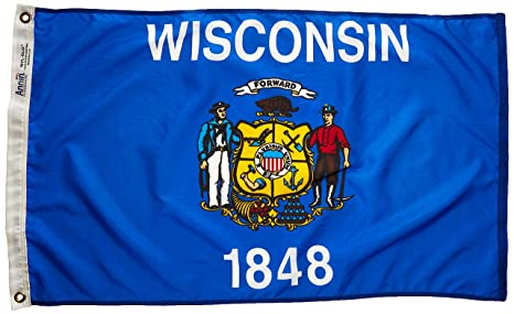 7fcd04bf1cd1f Annin Flagmakers Model 145950 Wisconsin State Flag Nylon SolarGuard  NYL-Glo, 2x3 ft, 100% Made in USA to Official Design Specifications