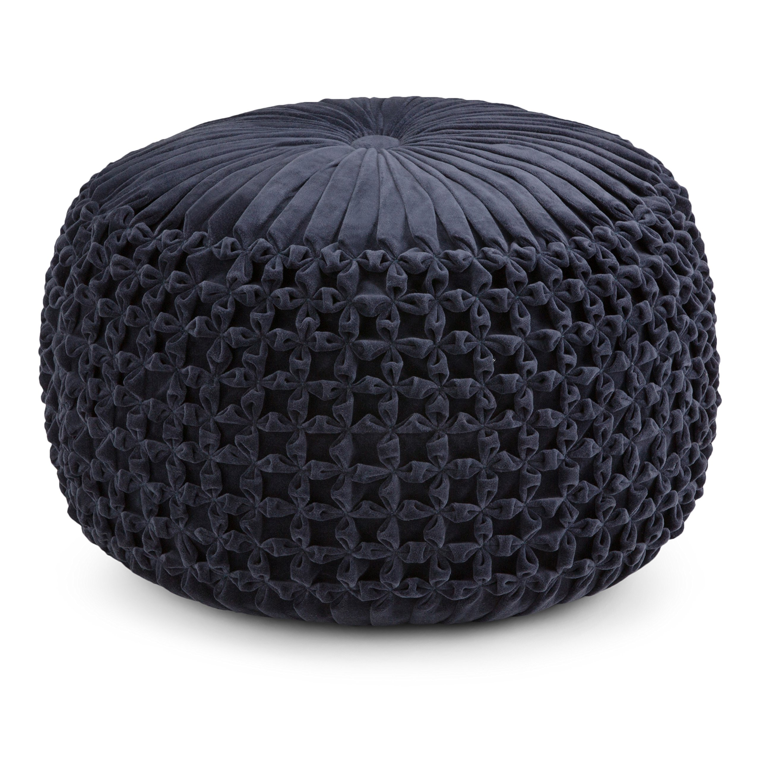 Simpli Home AXCPF-24 Renee Transitional Round Pouf in Navy Velvet by Simpli Home