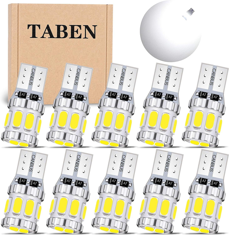 Confezione da 4 TABEN CanBus 194 Lampadina LED 8-SMD 5630 Chipset T10 168 175 2825 W5W Luce Targa Mappa Interni Auto Cupola Luce di Posizione Laterale Xenon Bianco 6000K 2,5W 12-24V