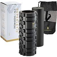 SUPERLETIC 2-in-1 Elite Fasciarollenset, massagerolset, fasciarol met massagenoppen voor wervelkolom, rug, benen en…