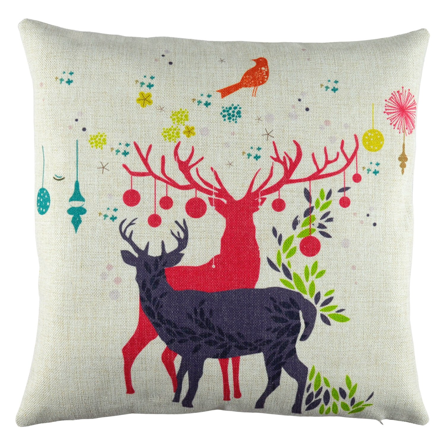 Cute Little Reindeer Couple Christmas Holiday Theme Cotton Linen Decorative Square Cushion Throw Pillow Cover