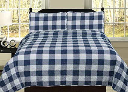 HowPlum Twin Buffalo Check Plaid Stripe Checkered Quilt Bedding Set, Navy  and White