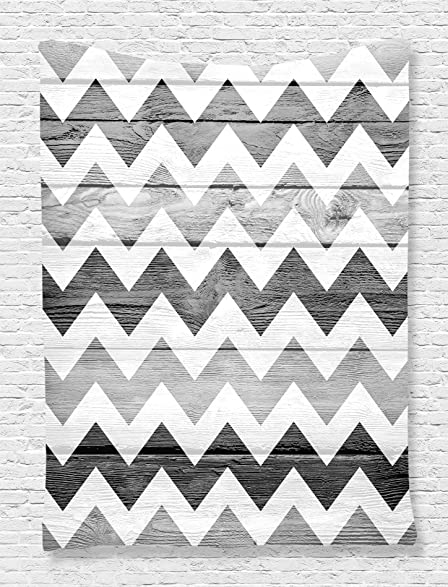 Etonnant Grey Tapestry Geometric Illustration Decorations By Ambesonne, Chevron  Pattern On Wood Background Design, Bedroom