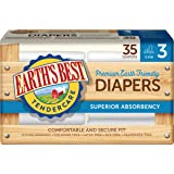 Earth's Best TenderCare Chlorine-Free Diapers, Fragrance Free, Size 3, Weight 16-28 lbs, 35 Count (Pack of 4)