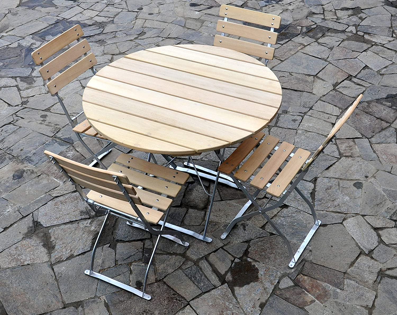 Bi/ère de jardin 1/ table /Ø100/ cm /& 4/ x Chaise EuroLiving Edition naturelle de Nature//galvanis/é
