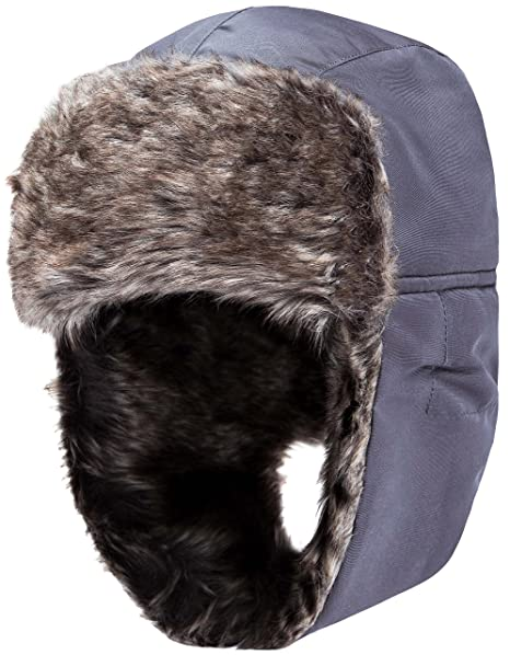 Wantdo Men s Trapper Hat Faux Leather Waterproof Warm Winter Trooper Snow  Hunting Hat with Ear Flap 7eed7c9c69b