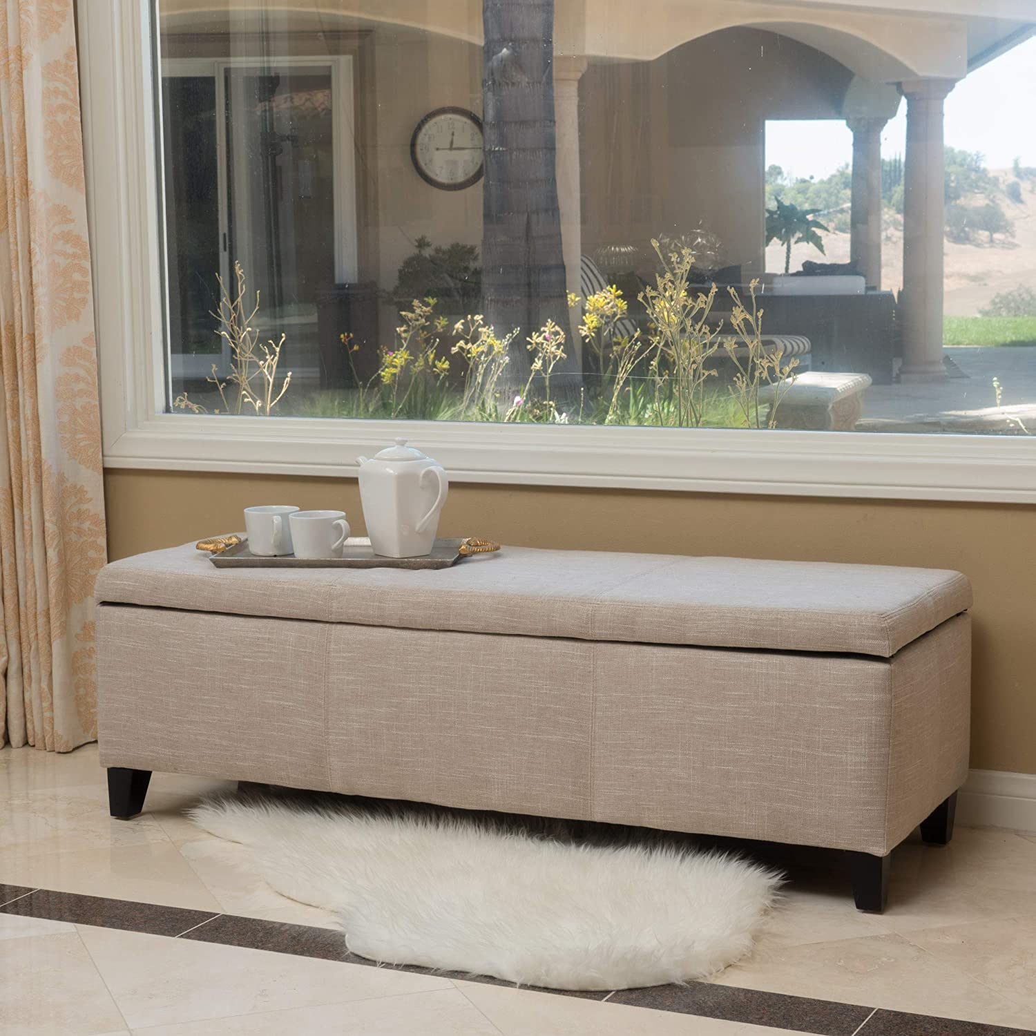 Christopher Knight Home 298339 Living Sarelia Bench Storage Ottoman (Light Beige)