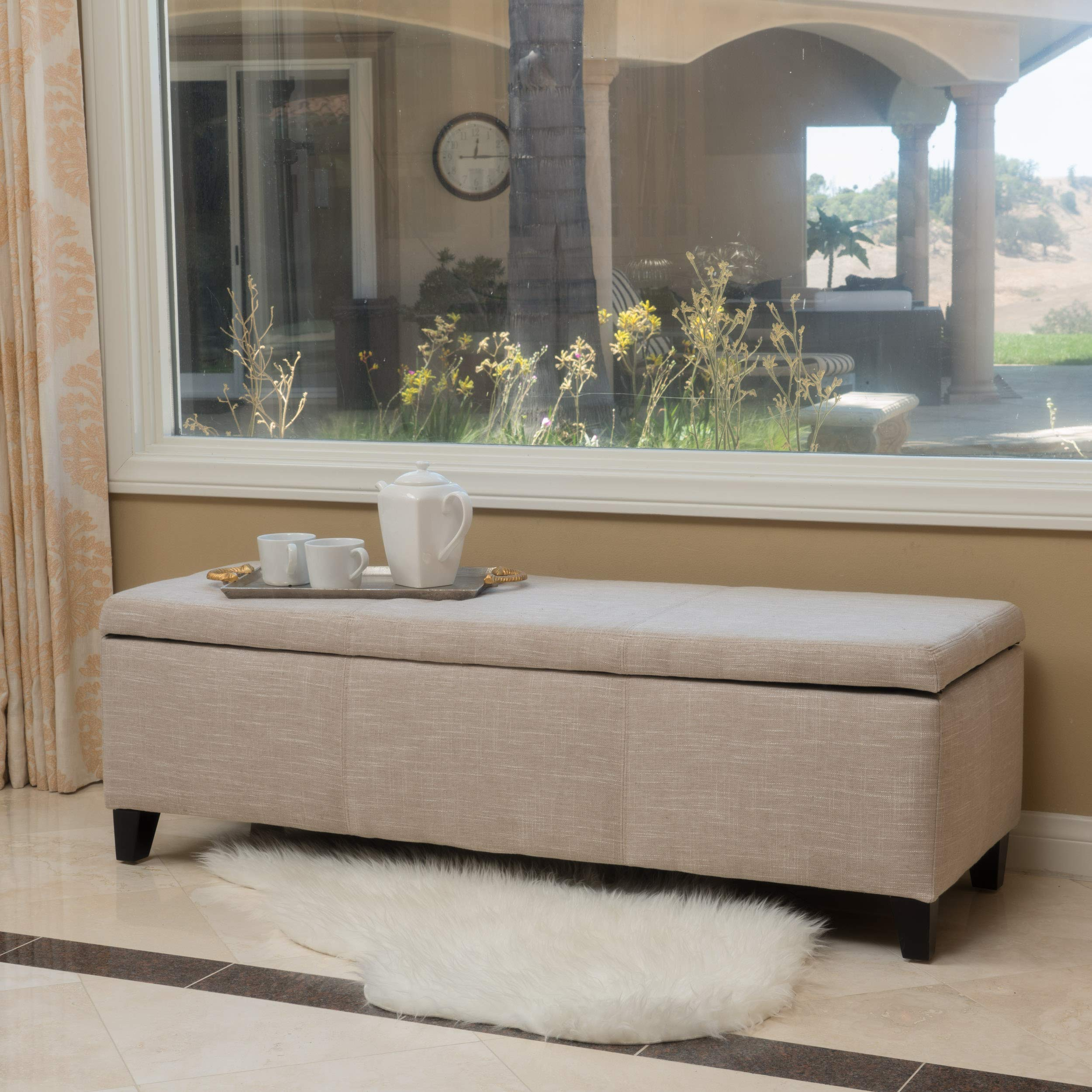 Christopher Knight Home 298339 Living Sarelia Bench Storage Ottoman (Light Beige) by Christopher Knight Home
