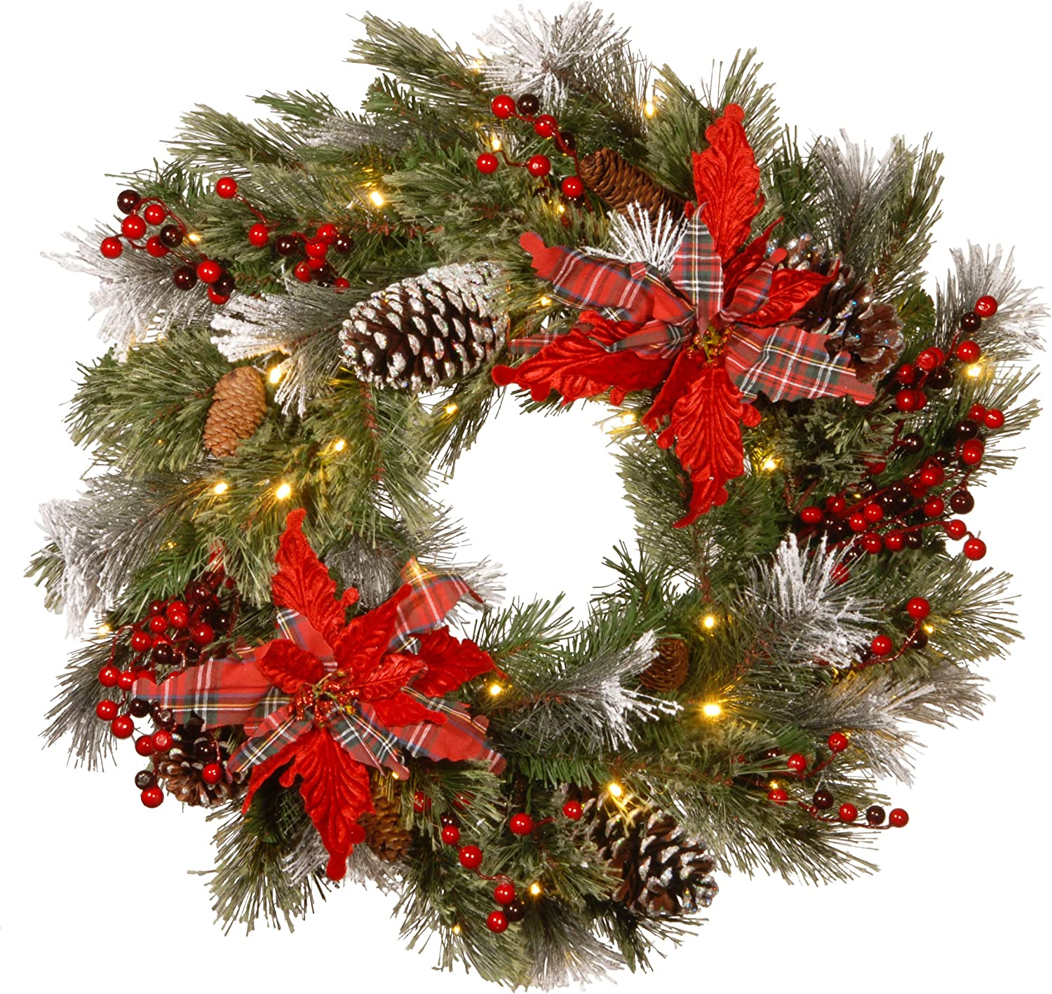 Amazon Com National Tree Company Pre Lit Artificial Christmas Wreath Decorative Collection Flocked With Mixed Decorations And Pre Strung Led Lights Tartan Plaid 24 Inch Home Kitchen