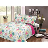 Luxury Bedspread Cotton Large Double King Size Quilted Soft Throw Set + 2 Shams