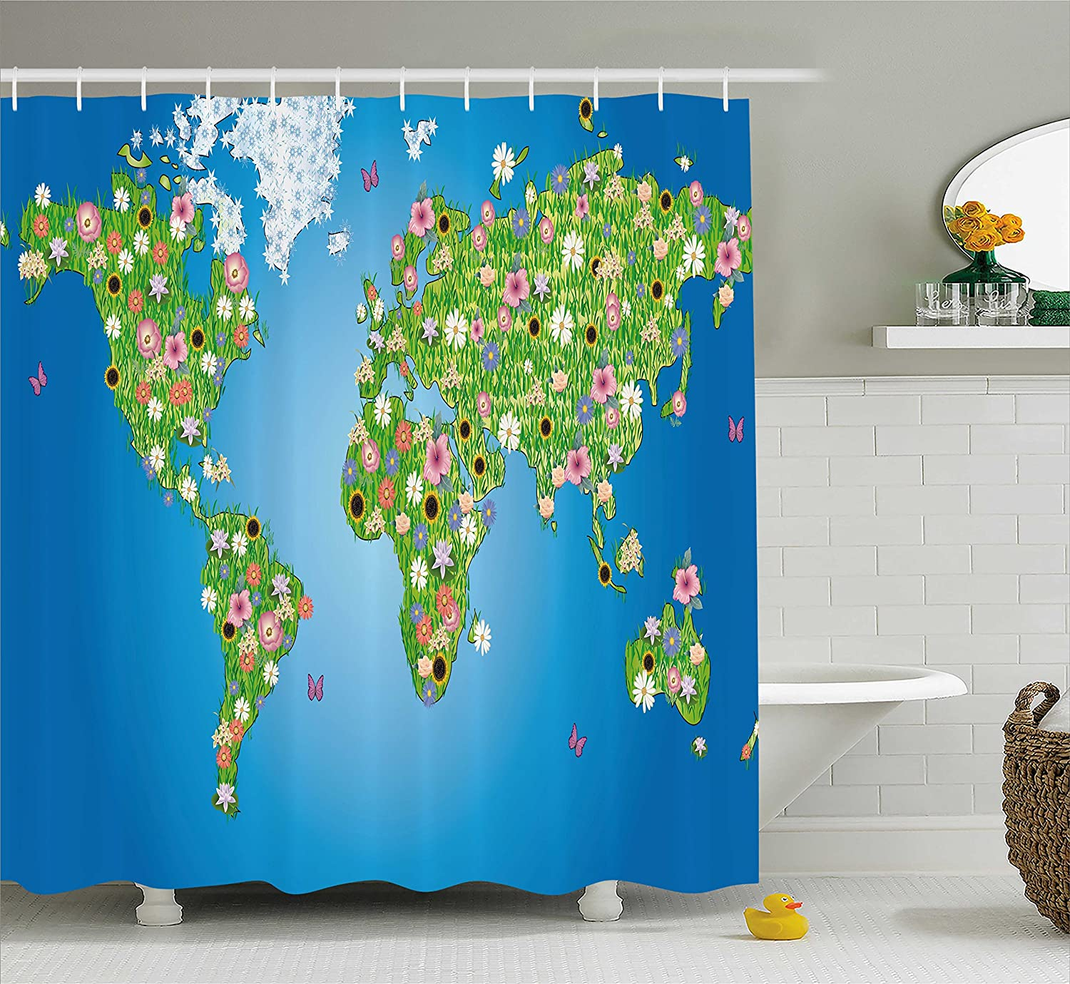 Amazon.com: Ambesonne Garden Shower Curtain, Daisy Lily Daffodil ...