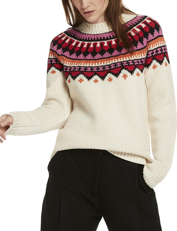 Maison Scotch Damen Pullover Soft Chunky Jacquard Knit with Pop Colours