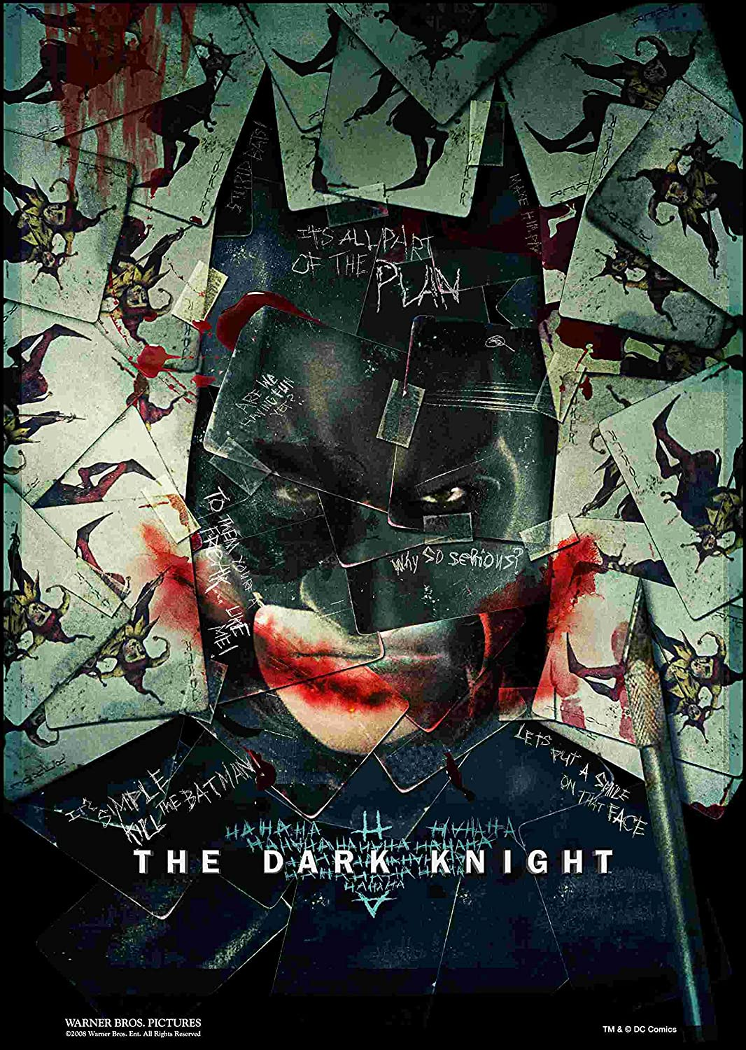 "The Dark Knight Movie "" It's All Part Of The Plan "" Batman Joker Collage Christian Bale Heath Ledger 12 x 18 Inch Quoted Poster Unframed Rolled"