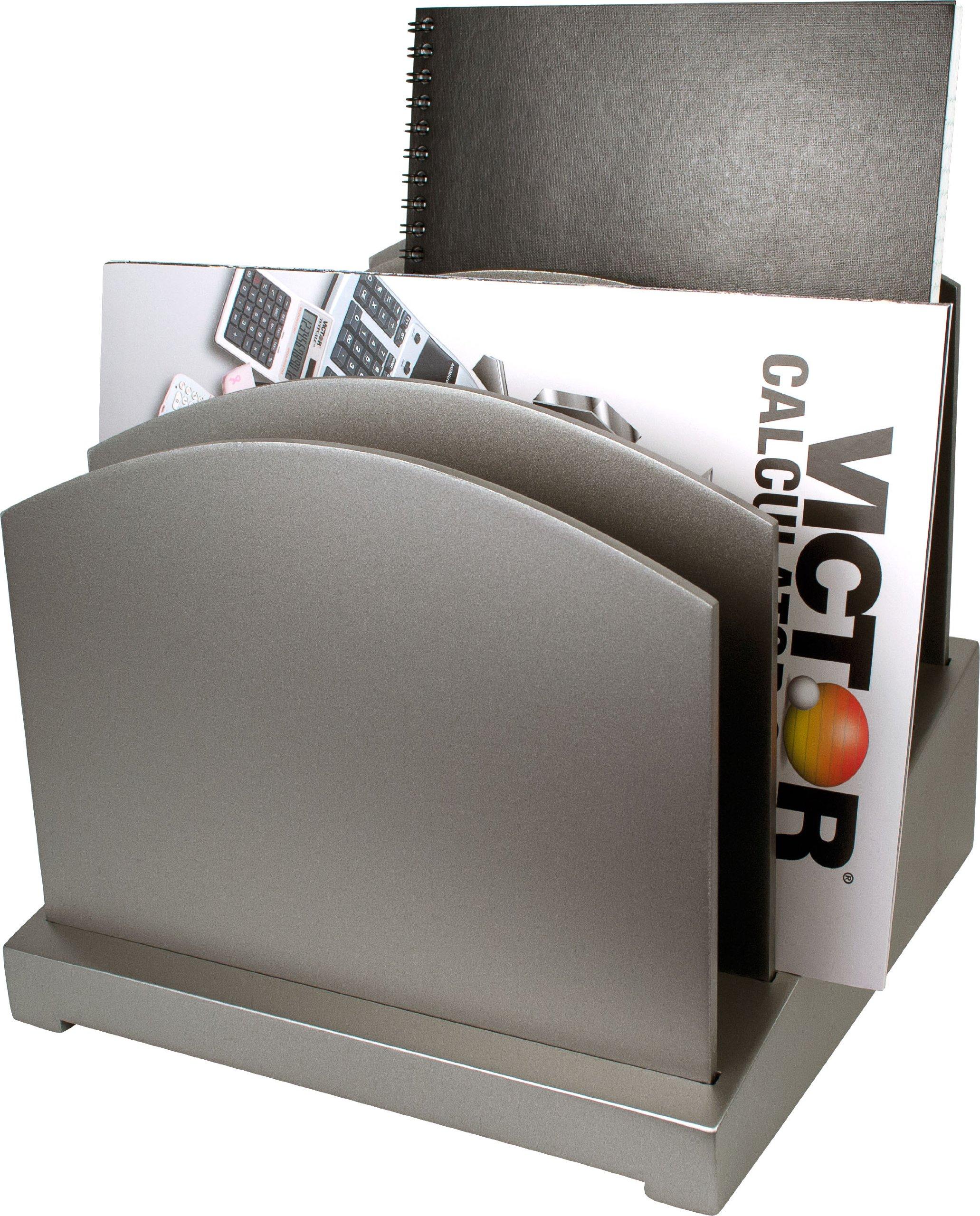 Silver File Organizer - Wood Desk Organizer