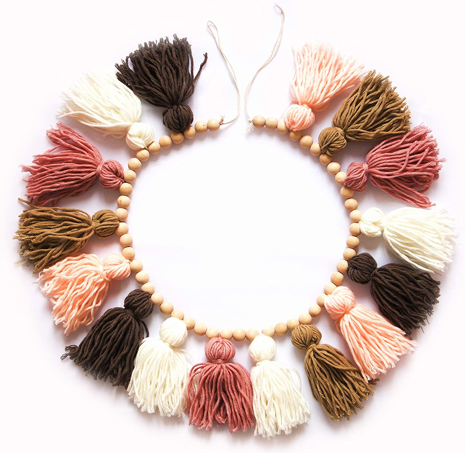 Decocove Tassel Garland - Boho Tassel Garland with Wood Beads - Wall Decor for Dorm, Girls Room and Nursery Room (43 inch) - Blush and Terra Cotta