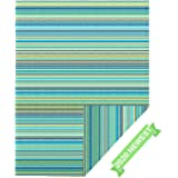 JBGO Reversible Woven Outdoor Rug, 4' x 6' Lightweight Large Plastic Striped Stain Proof Indoor Area Runner Mat for Deck…