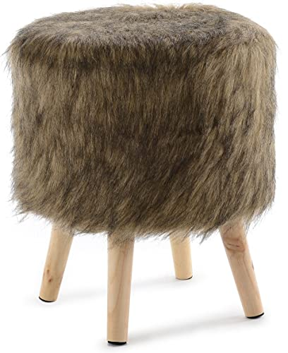 Cheer Collection 13 Round Ottoman Super Soft Decorative Brown Mink Faux Fur Foot Stool with Wood Legs