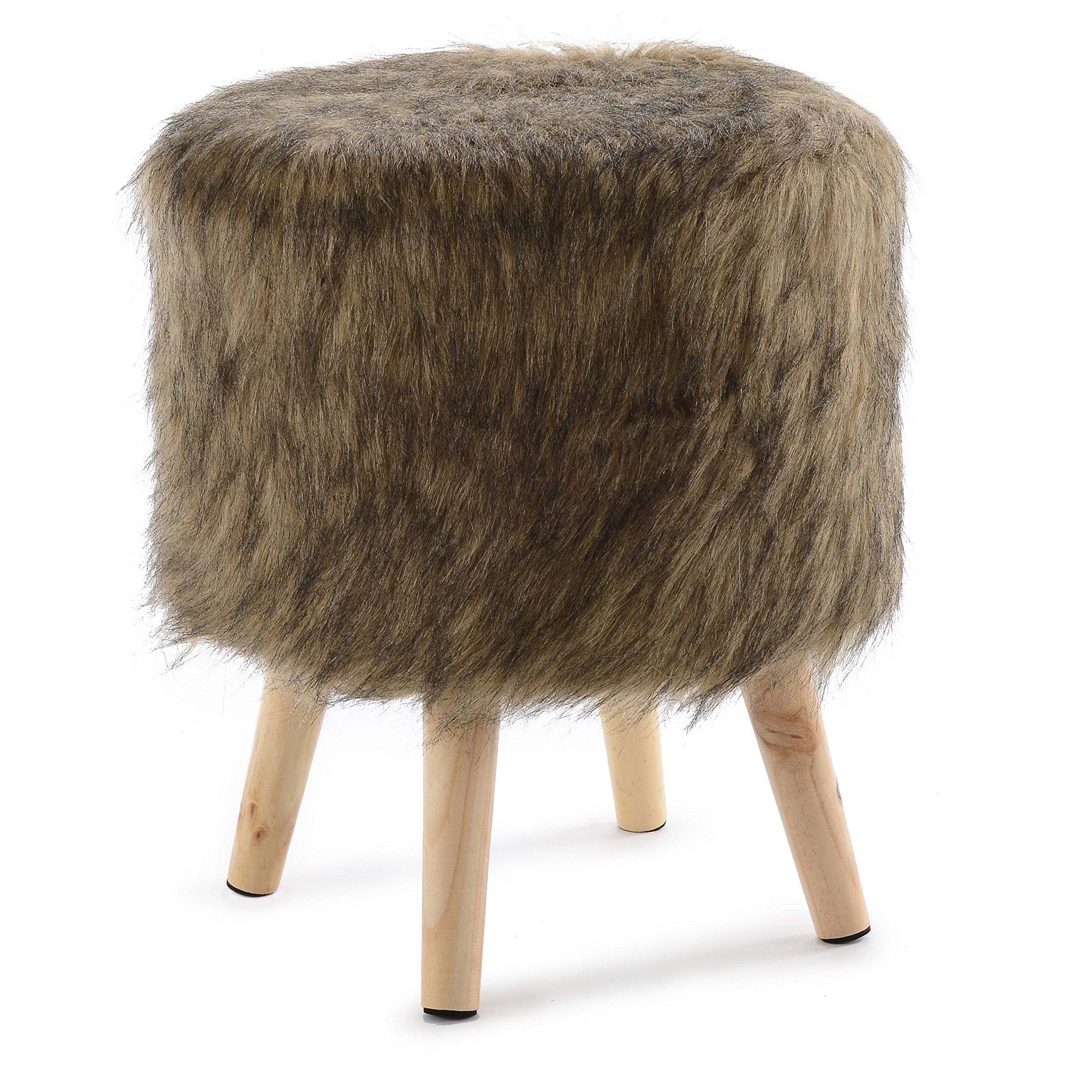 Cheer Collection 13'' Round Ottoman | Super Soft Decorative Brown Mink Faux Fur Foot Stool with Wood Legs