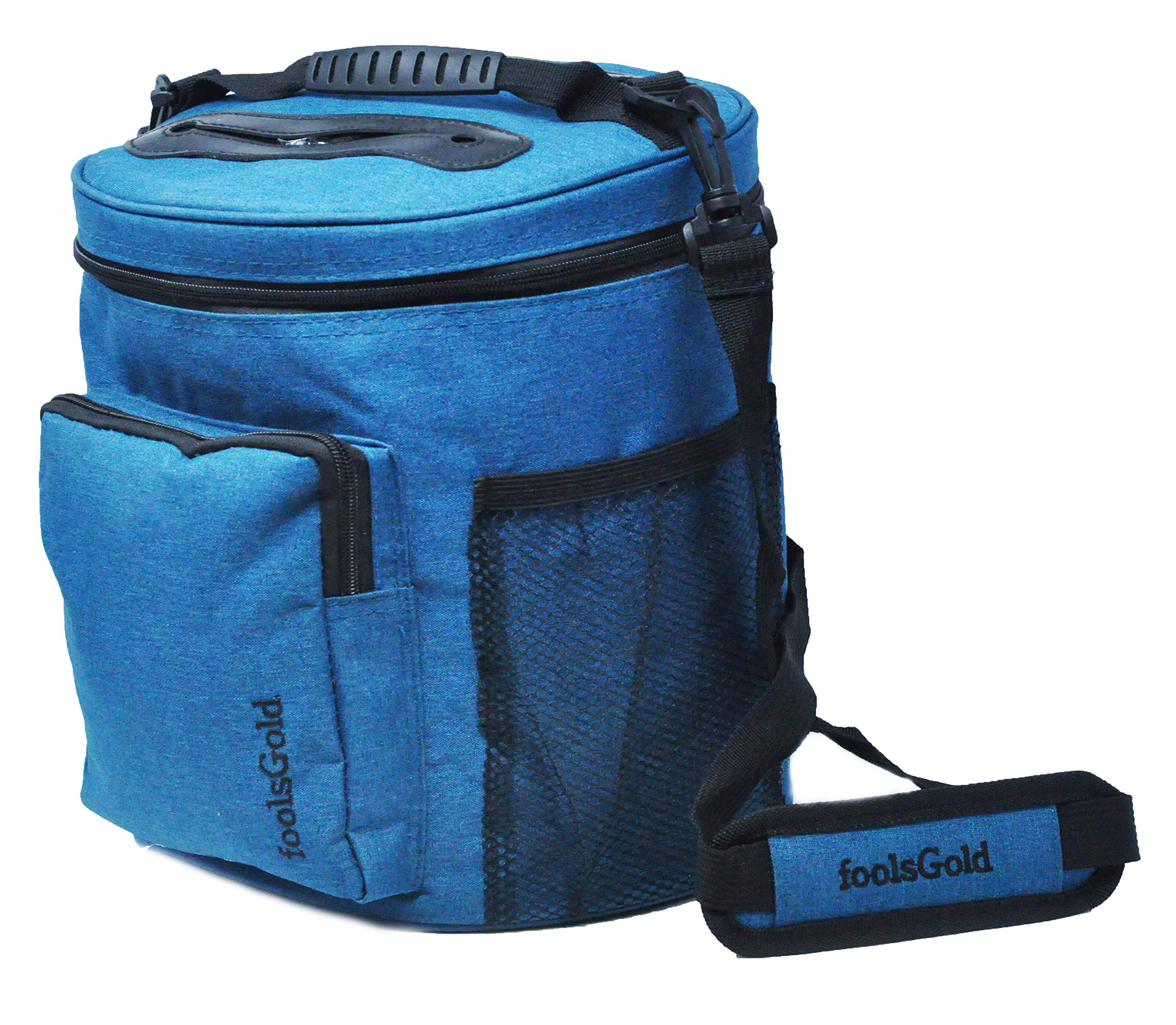 foolsGold Pro Easy Carry Dual Slot Knitting Bag for Wool and Yarn with 2 Organiser Sections and Zip Pocket - Teal