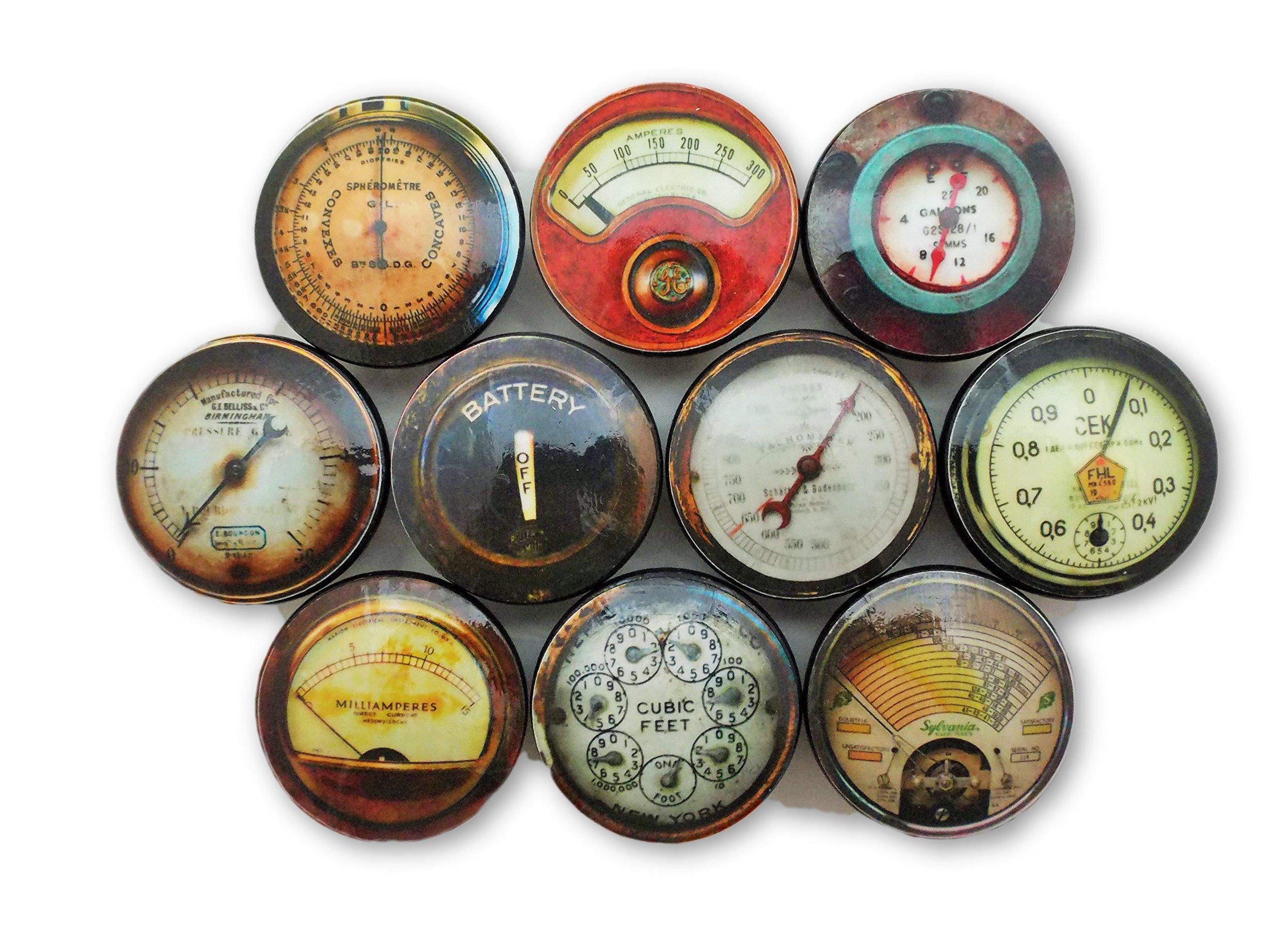 Set of 10 Industrial Meters and Gauges Wood Cabinet Knobs (Set 1)