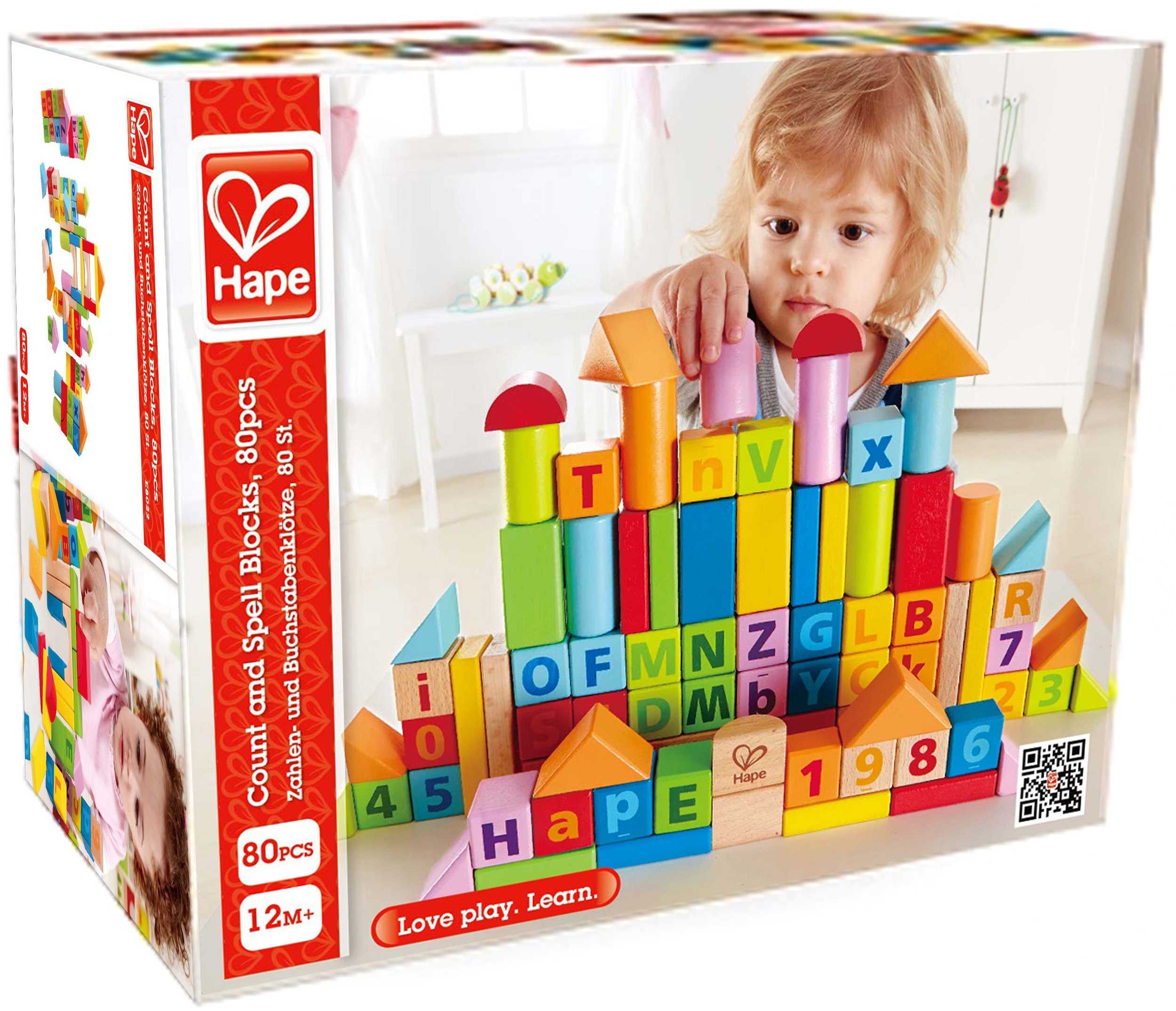 Hape LIMITED EDITION Solid Beech Wood Stacking Blocks with Carrying Sack