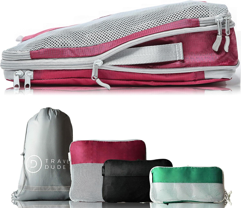 TRAVEL DUDE Organizador de Maletas con Bolsas de Compresión para Equipaje | De Botellas de Plástico Recicladas | Bolsas Organizadoras Maleta | Easy Travel | Ultra liviano (Multicolor, 4 Piezas)