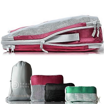 TRAVEL DUDE – Juego de Cubos de Embalaje con Bolsas de compresión para Equipaje | Bolsas y Organizador Equipaje y lavandería para Mochila y Maleta| ...