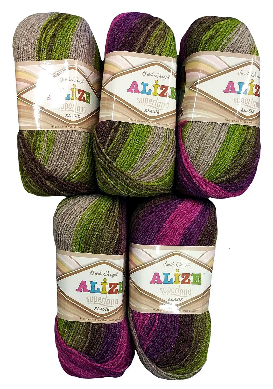 5x 100grams Alize Superlana in viola lilla verde tortora grigio sfumato 3940500gram in acrilico lavorato a maglia, 75% lana 25% lana