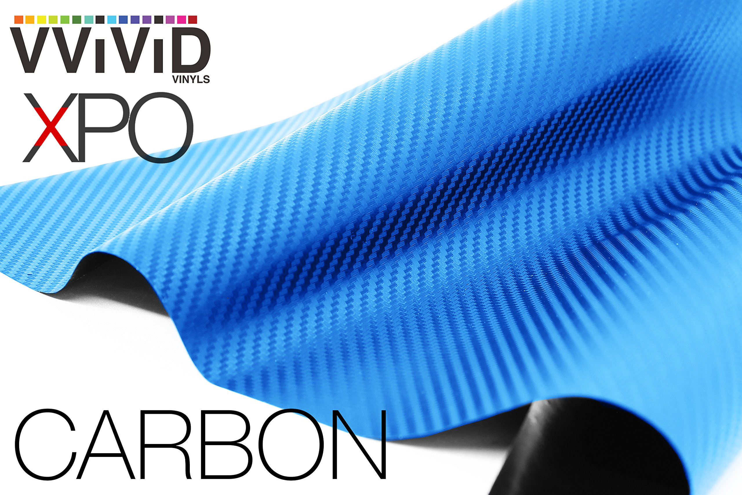 VViViD XPO Electric Blue 3D Carbon Fiber Vinyl Wrap Roll with Air Release Technology (25ft x 5ft)
