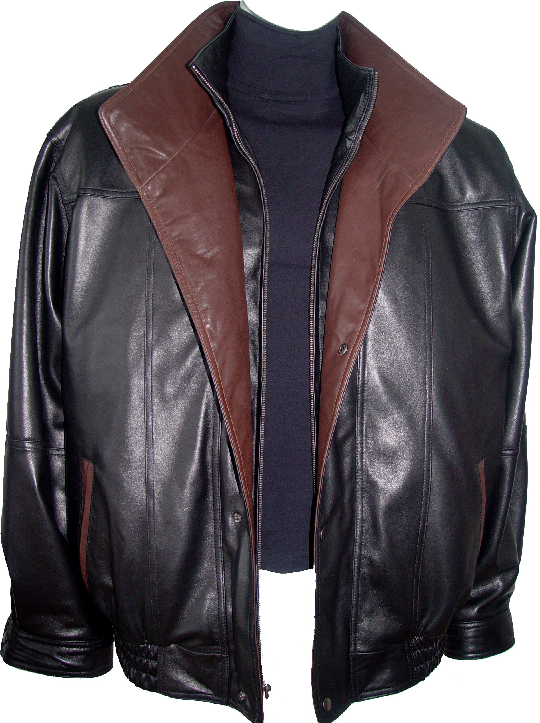Paccilo Men 1016 Big Size Tall Long Size Lamb Leather Jacket