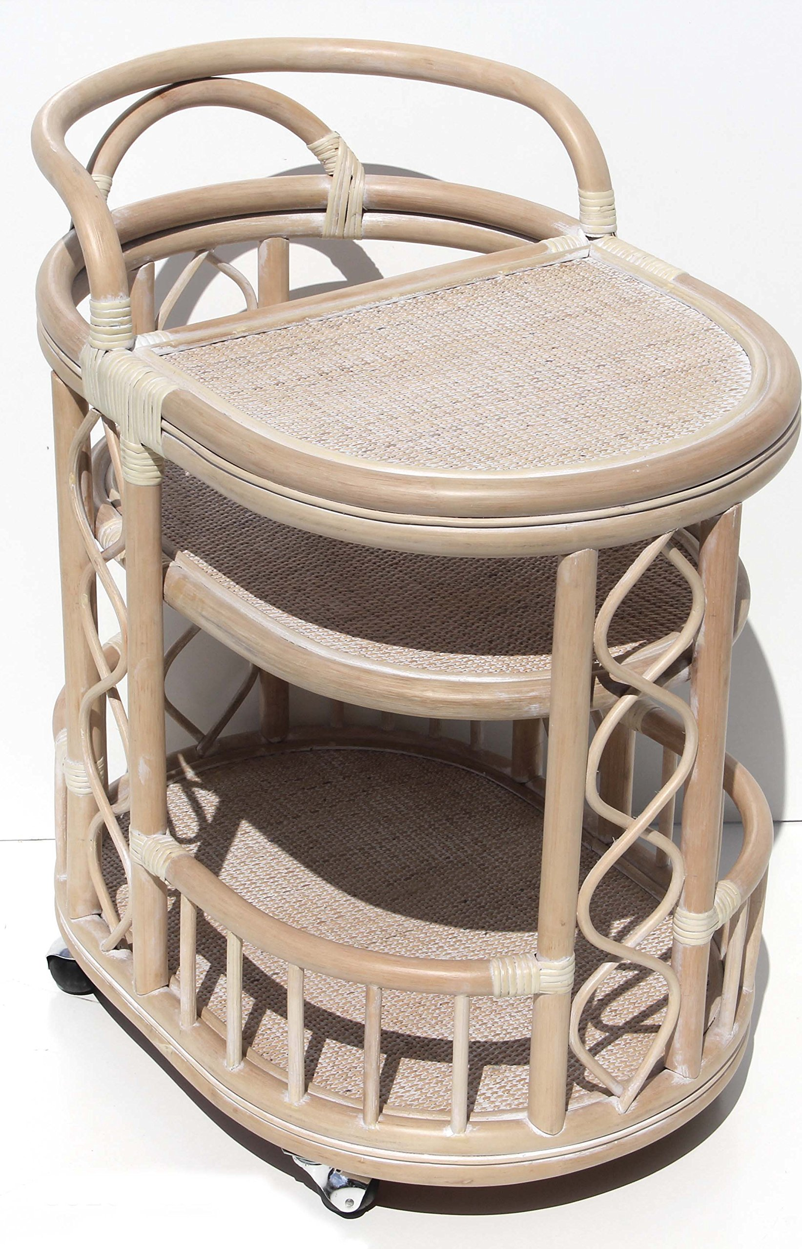 Moving Serving Cart Bar Table Natural Rattan Wicker Exclusive Handmade ECO, Cream