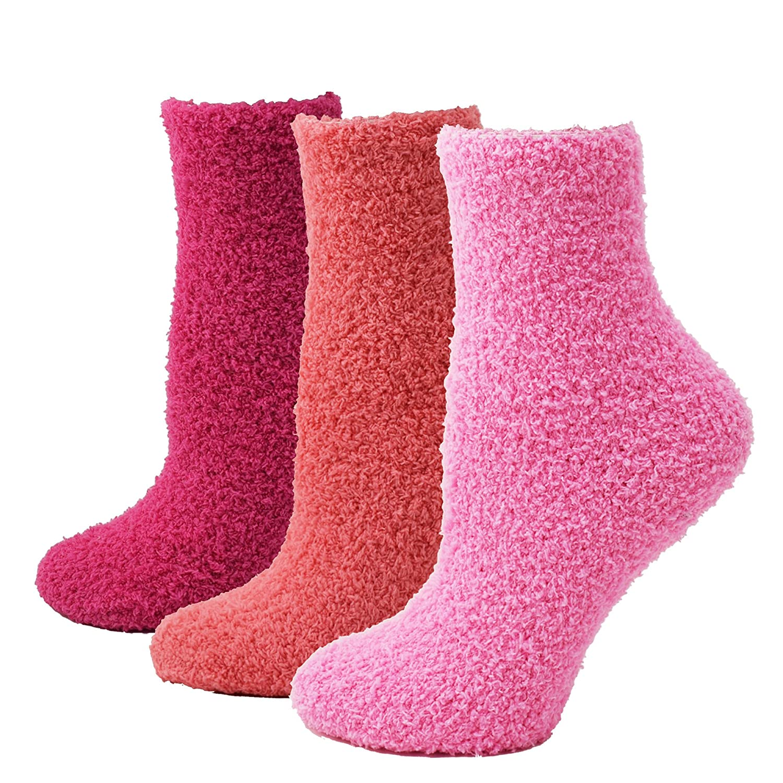 Fitu Women's Soft Warm Cozy Fuzzy Socks 3 Pairs Within Gift Box 847black